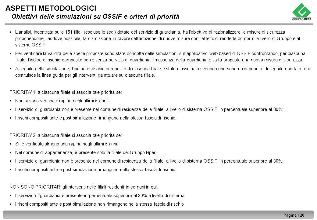 ASPETTI METODOLOGICI Obiettivi delle simulazioni su OSSIF e criteri di priorità