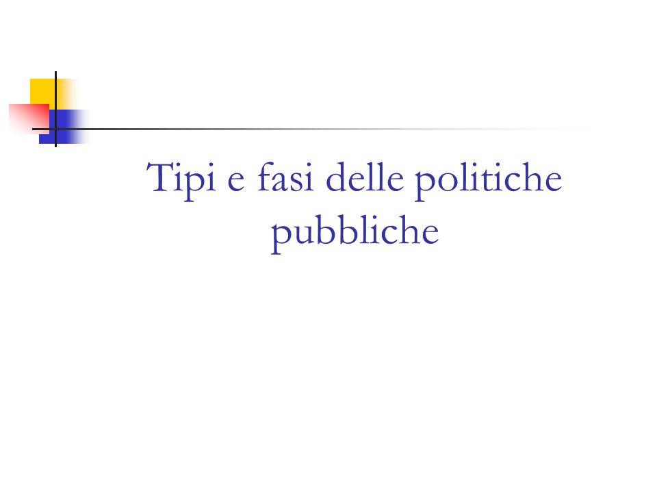 Tipi e fasi delle politiche pubbliche
