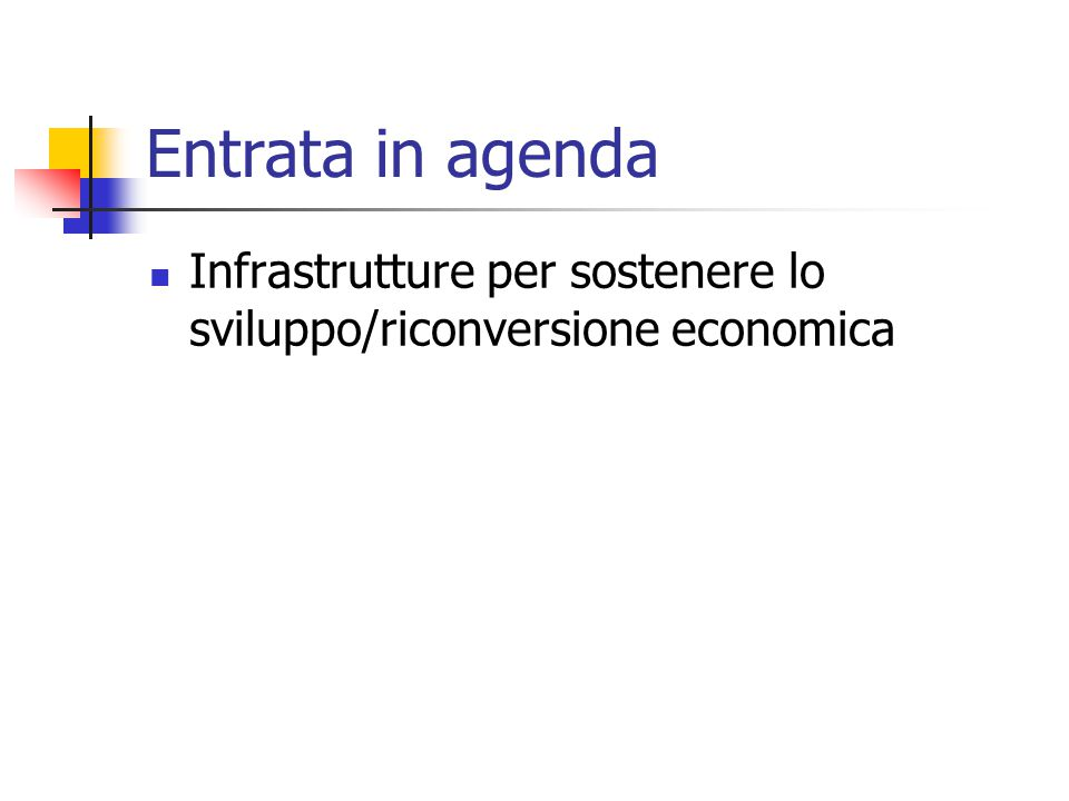 Entrata in agenda Infrastrutture per sostenere lo sviluppo/riconversione economica