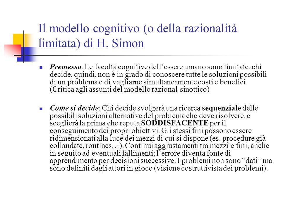 Il modello cognitivo (o della razionalità limitata) di H. Simon