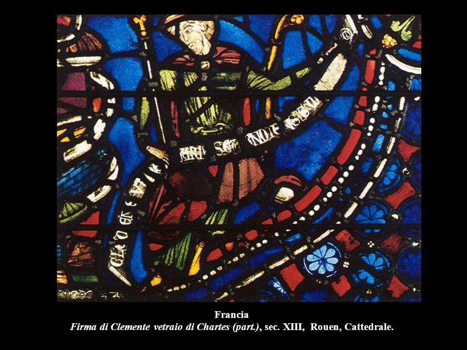 Francia Firma di Clemente vetraio di Chartes (part. ), sec