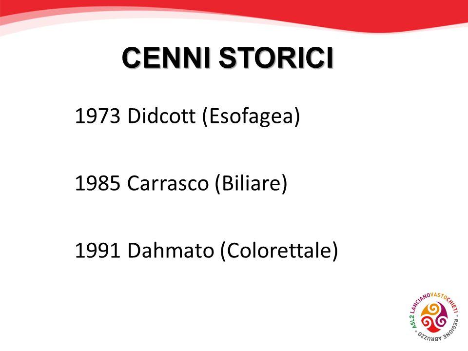 CENNI STORICI 1973 Didcott (Esofagea) 1985 Carrasco (Biliare)
