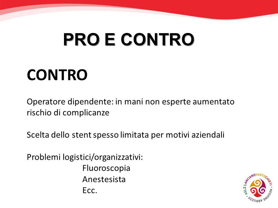 PRO E CONTRO CONTRO. Operatore dipendente: in mani non esperte aumentato rischio di complicanze.