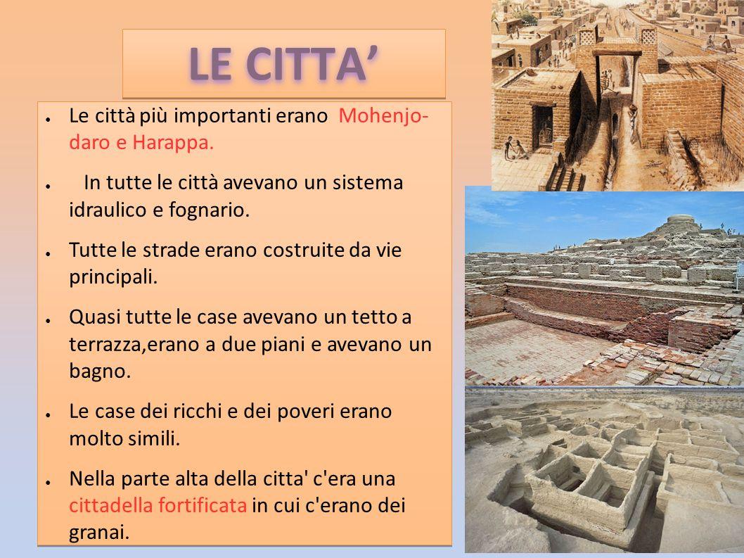 LE CITTA' Le città più importanti erano Mohenjo- daro e Harappa.