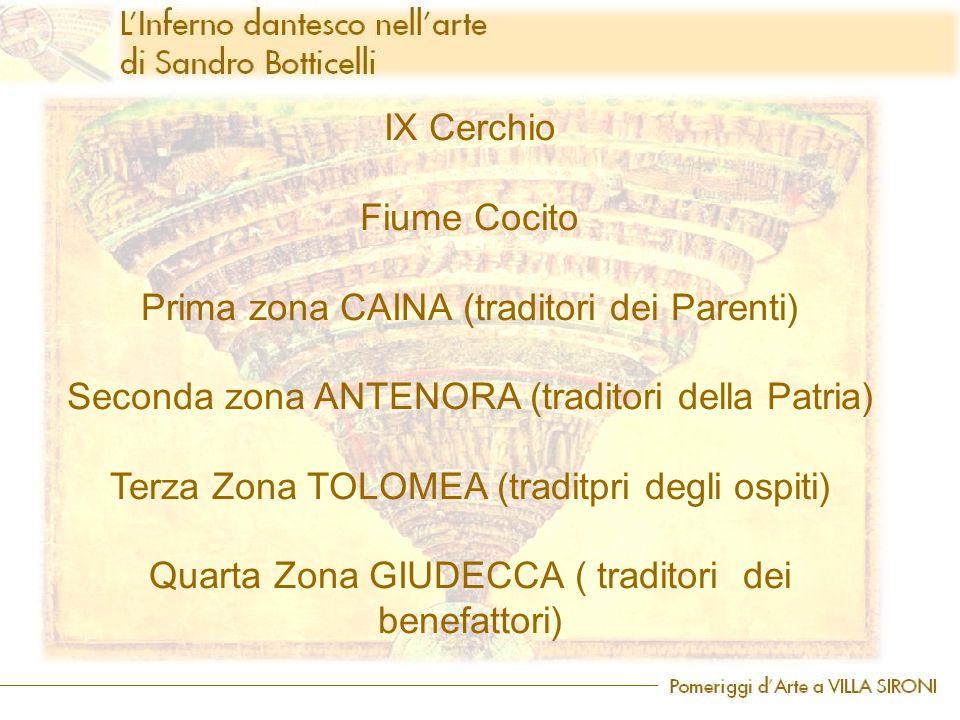 IX Cerchio Fiume Cocito Prima zona CAINA (traditori dei Parenti) Seconda zona ANTENORA (traditori della Patria) Terza Zona TOLOMEA (traditpri degli ospiti) Quarta Zona GIUDECCA ( traditori dei benefattori)