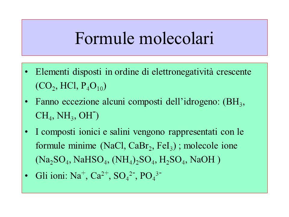 Formule molecolari Elementi disposti in ordine di elettronegatività crescente (CO2, HCl, P4O10)