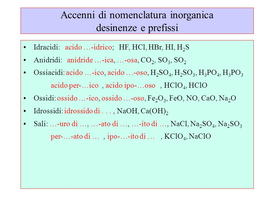 Accenni di nomenclatura inorganica desinenze e prefissi