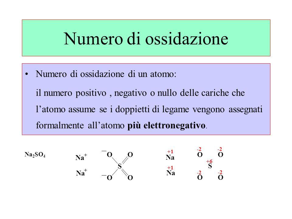 Numero di ossidazione Numero di ossidazione di un atomo: