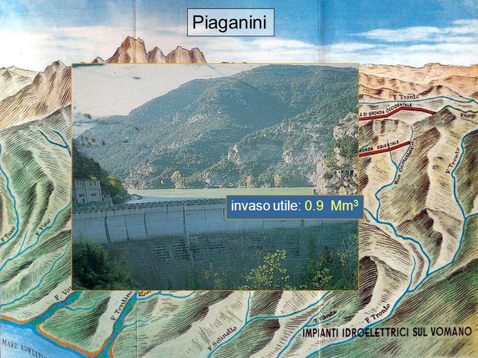 Piaganini Piaganini invaso utile: 0.9 Mm3