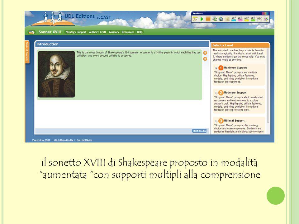 il sonetto XVIII di Shakespeare proposto in modalità aumentata con supporti multipli alla comprensione