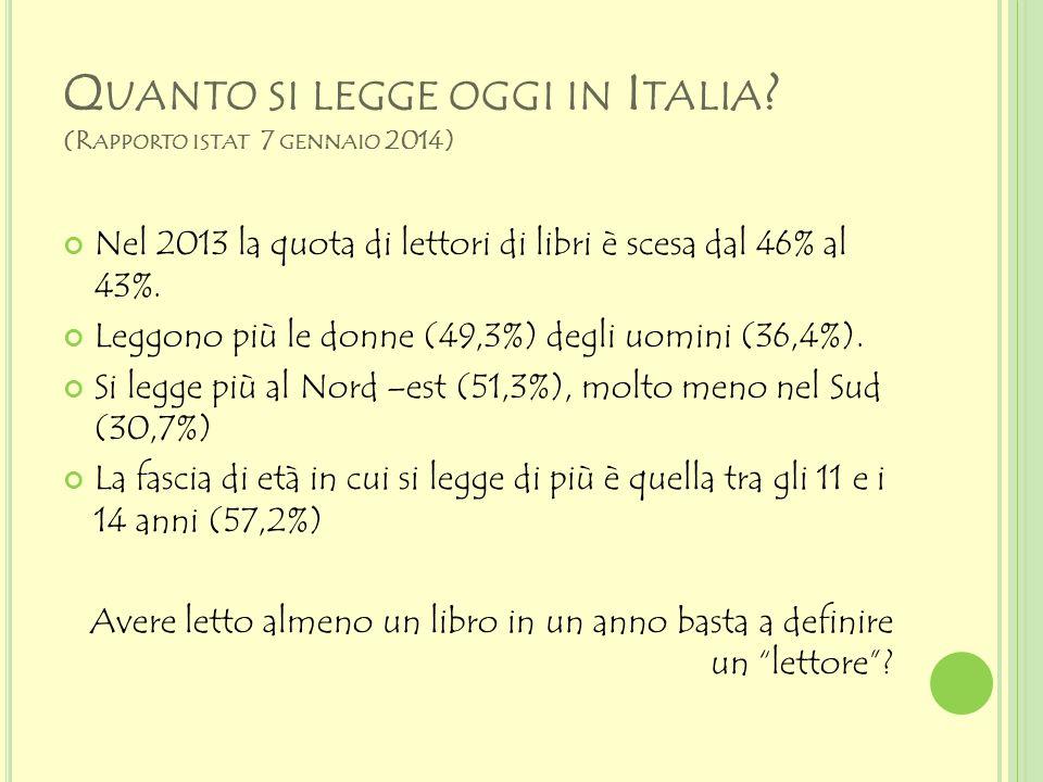 Quanto si legge oggi in Italia (Rapporto istat 7 gennaio 2014)