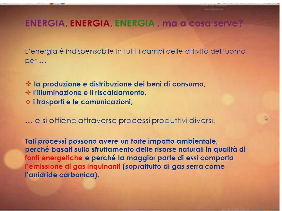 ENERGIA, ENERGIA, ENERGIA , ma a cosa serve