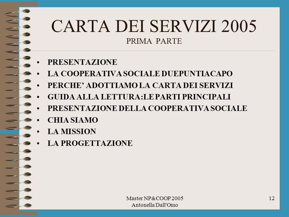 CARTA DEI SERVIZI 2005 PRIMA PARTE