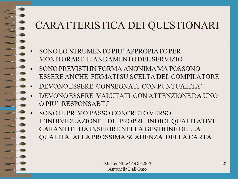CARATTERISTICA DEI QUESTIONARI
