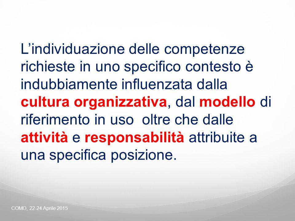 L'individuazione delle competenze richieste in uno specifico contesto è indubbiamente influenzata dalla cultura organizzativa, dal modello di riferimento in uso oltre che dalle attività e responsabilità attribuite a una specifica posizione.