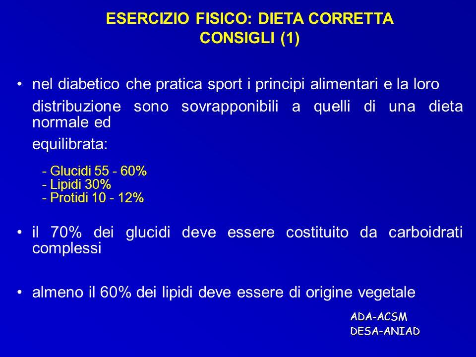 ESERCIZIO FISICO: DIETA CORRETTA