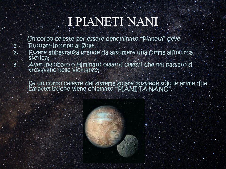 I PIANETI NANI Un corpo celeste per essere denominato Pianeta deve: