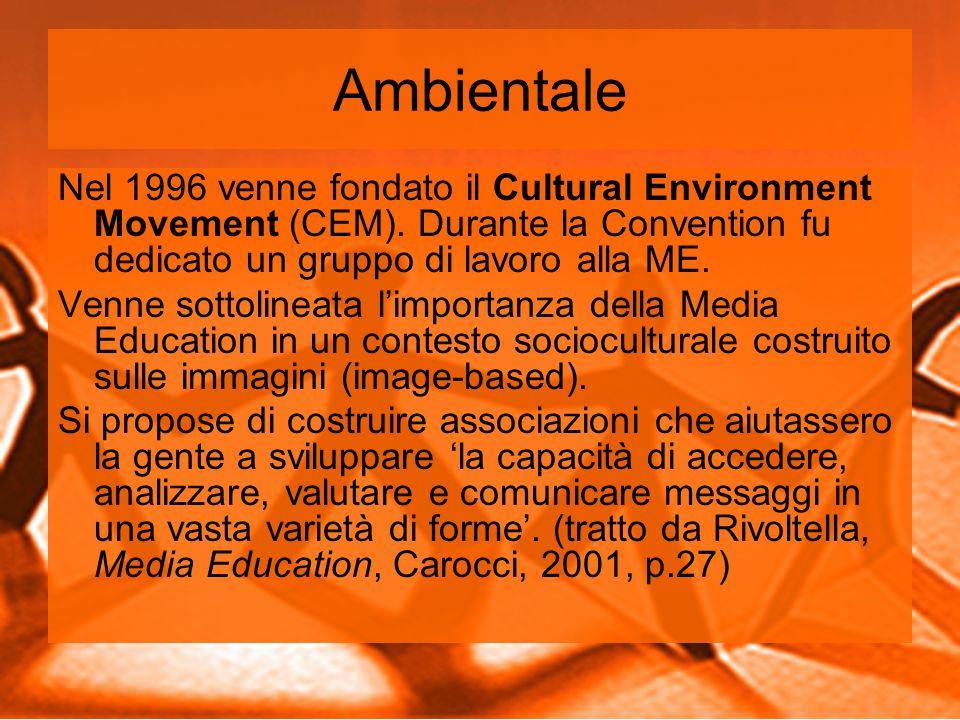 Ambientale Nel 1996 venne fondato il Cultural Environment Movement (CEM). Durante la Convention fu dedicato un gruppo di lavoro alla ME.