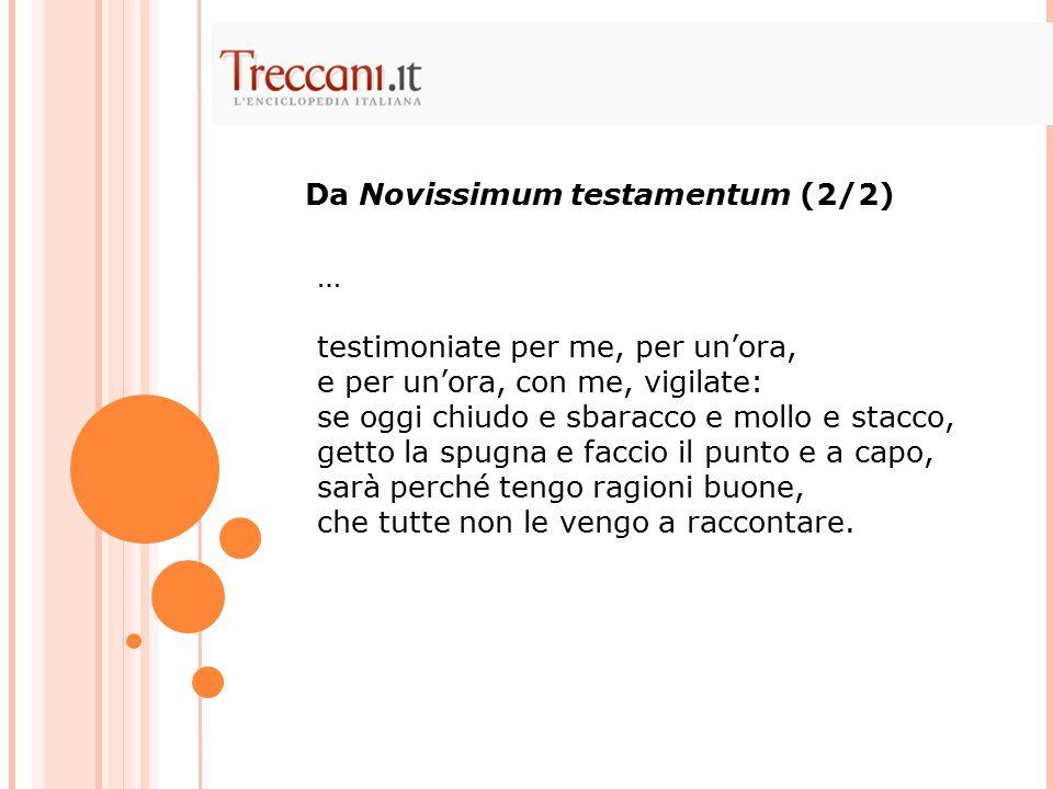 Da Novissimum testamentum (2/2)