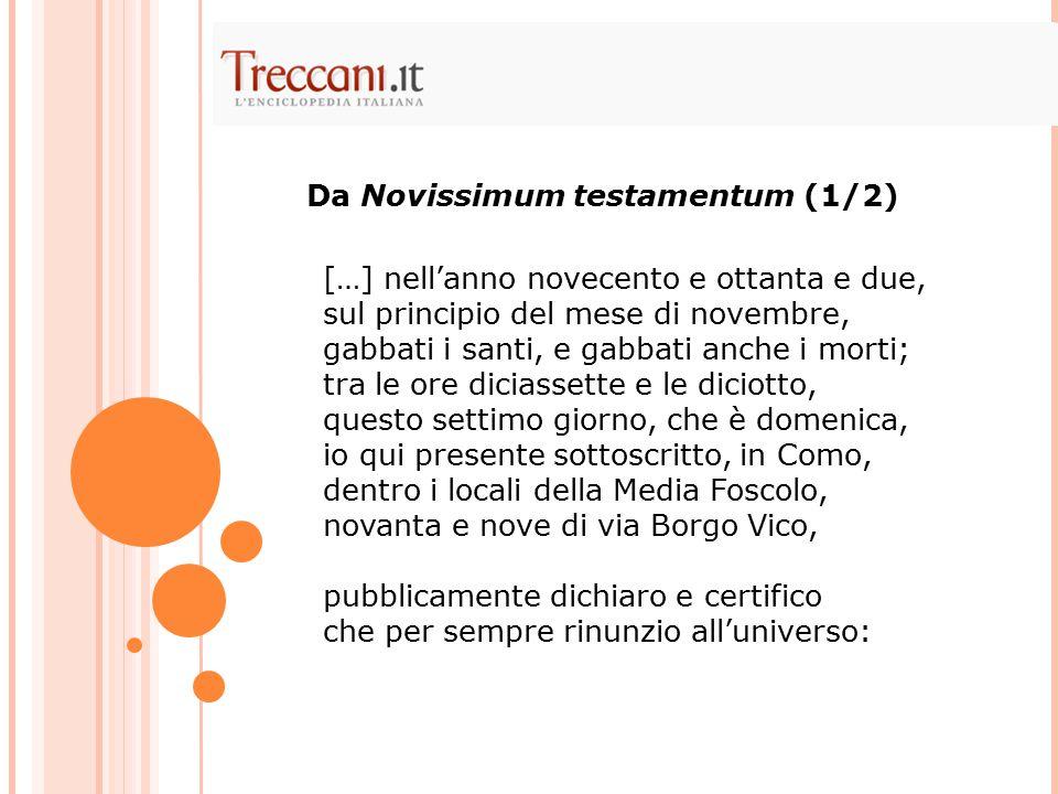 Da Novissimum testamentum (1/2)