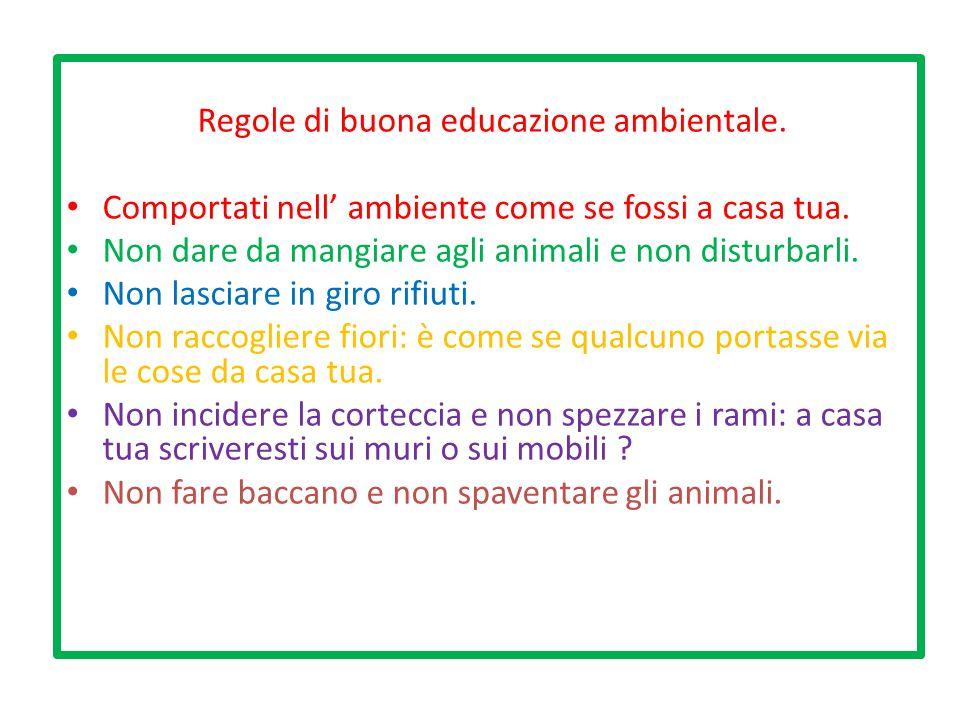 Regole di buona educazione ambientale.