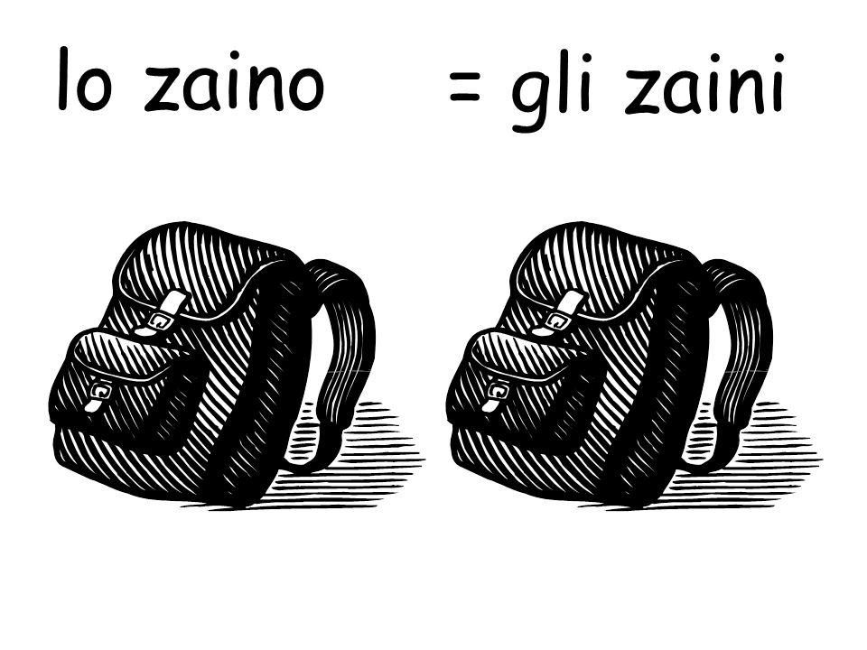 lo zaino = gli zaini