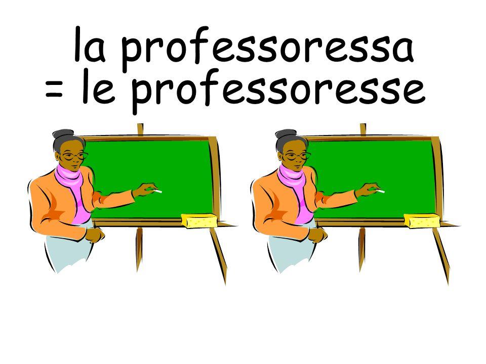 la professoressa = le professoresse