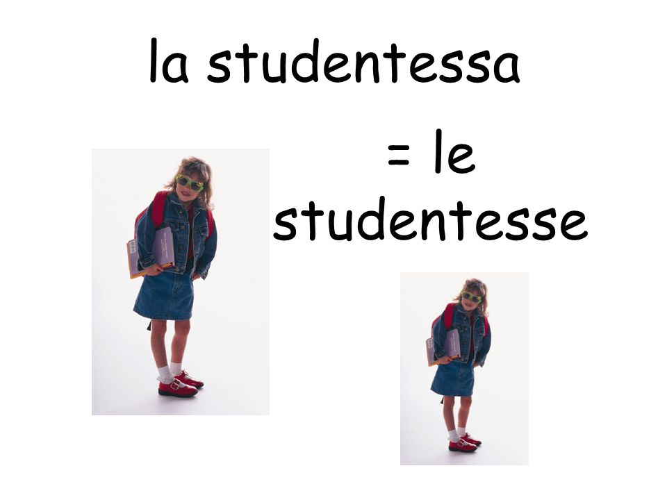 la studentessa = le studentesse
