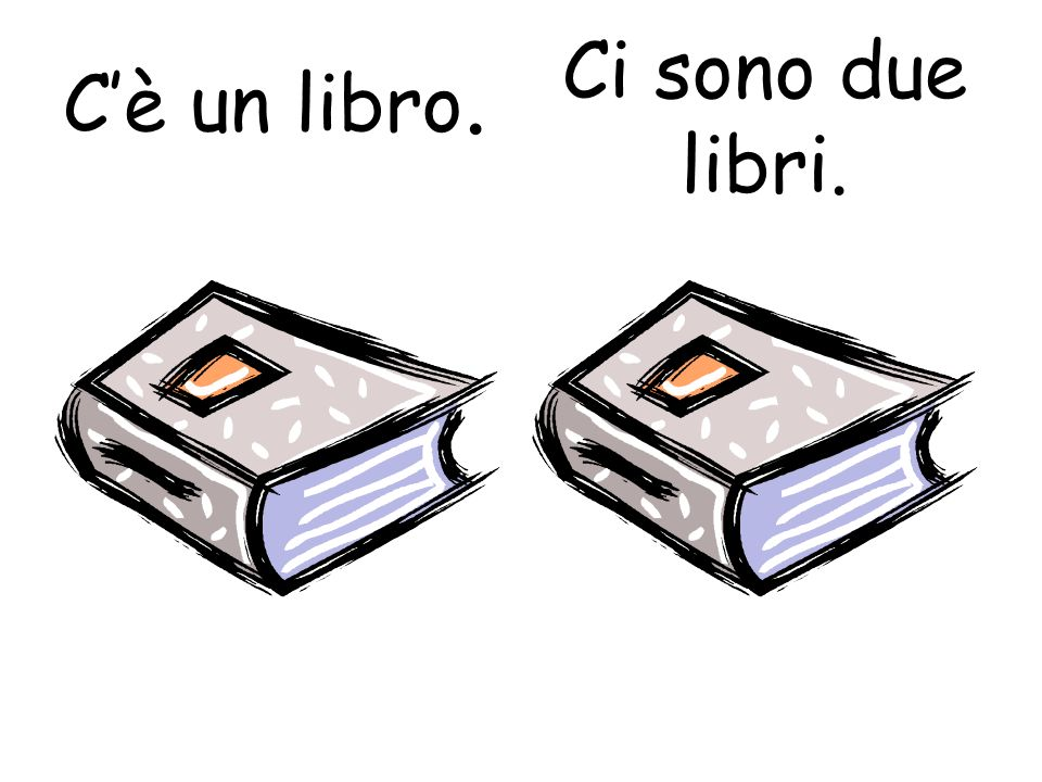 C'è un libro. Ci sono due libri.