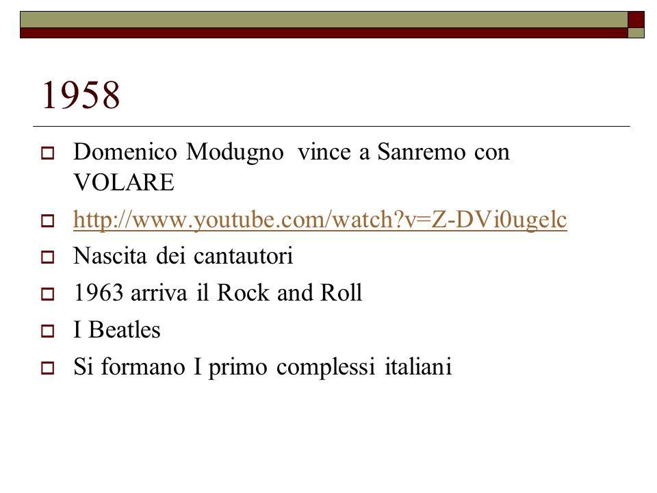 1958 Domenico Modugno vince a Sanremo con VOLARE