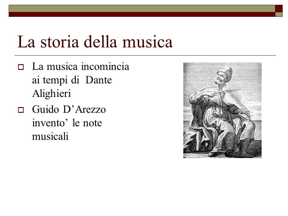 La storia della musica La musica incomincia ai tempi di Dante Alighieri.