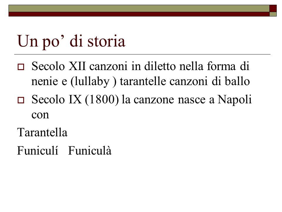 Un po' di storia Secolo XII canzoni in diletto nella forma di nenie e (lullaby ) tarantelle canzoni di ballo.