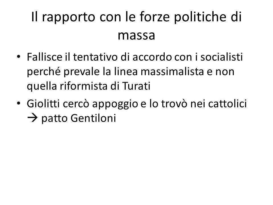 Il rapporto con le forze politiche di massa