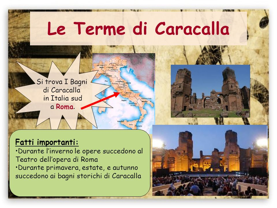 Le Terme di Caracalla Fatti importanti: Si trova I Bagni di Caracalla