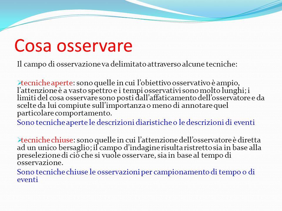 Cosa osservare Il campo di osservazione va delimitato attraverso alcune tecniche: