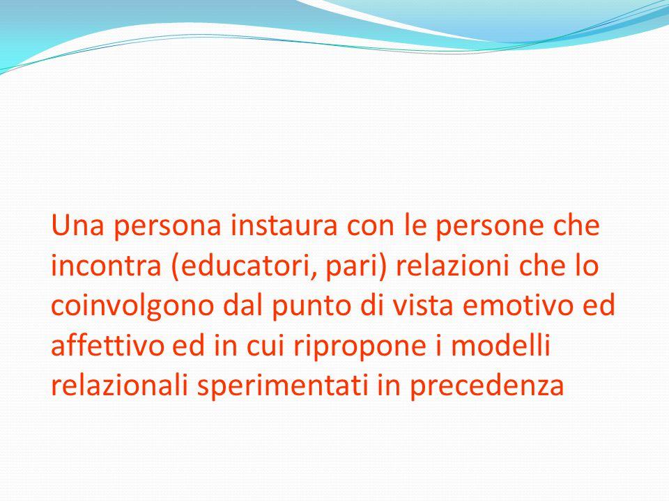 Una persona instaura con le persone che incontra (educatori, pari) relazioni che lo coinvolgono dal punto di vista emotivo ed affettivo ed in cui ripropone i modelli relazionali sperimentati in precedenza