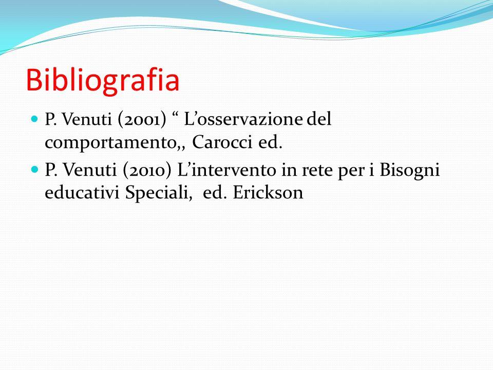 Bibliografia P. Venuti (2001) L'osservazione del comportamento,, Carocci ed.