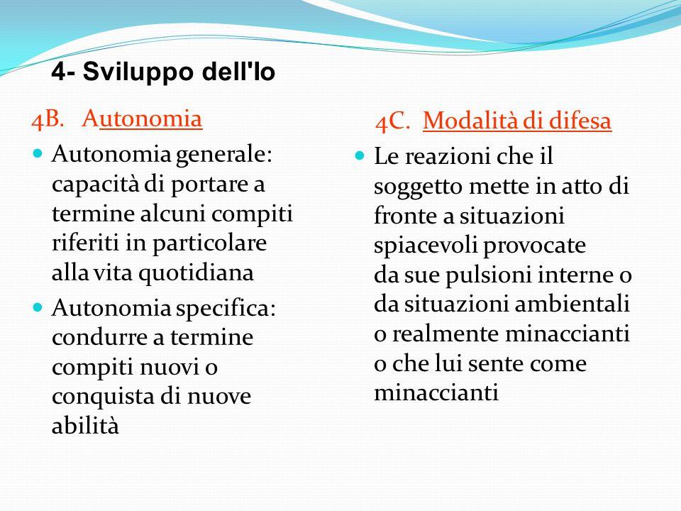 4- Sviluppo dell Io 4B. Autonomia 4C. Modalità di difesa
