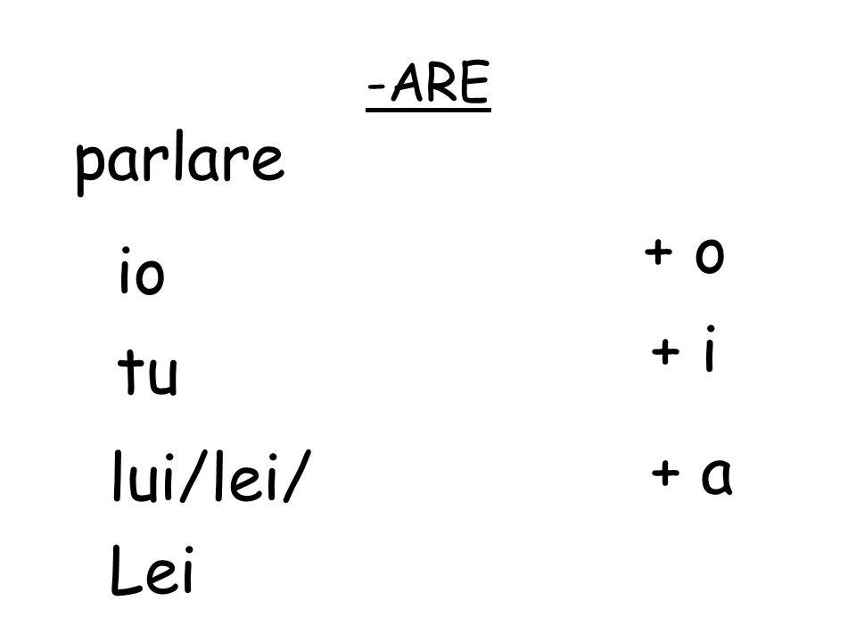 -ARE parl are + o io + i tu + a lui/lei/ Lei