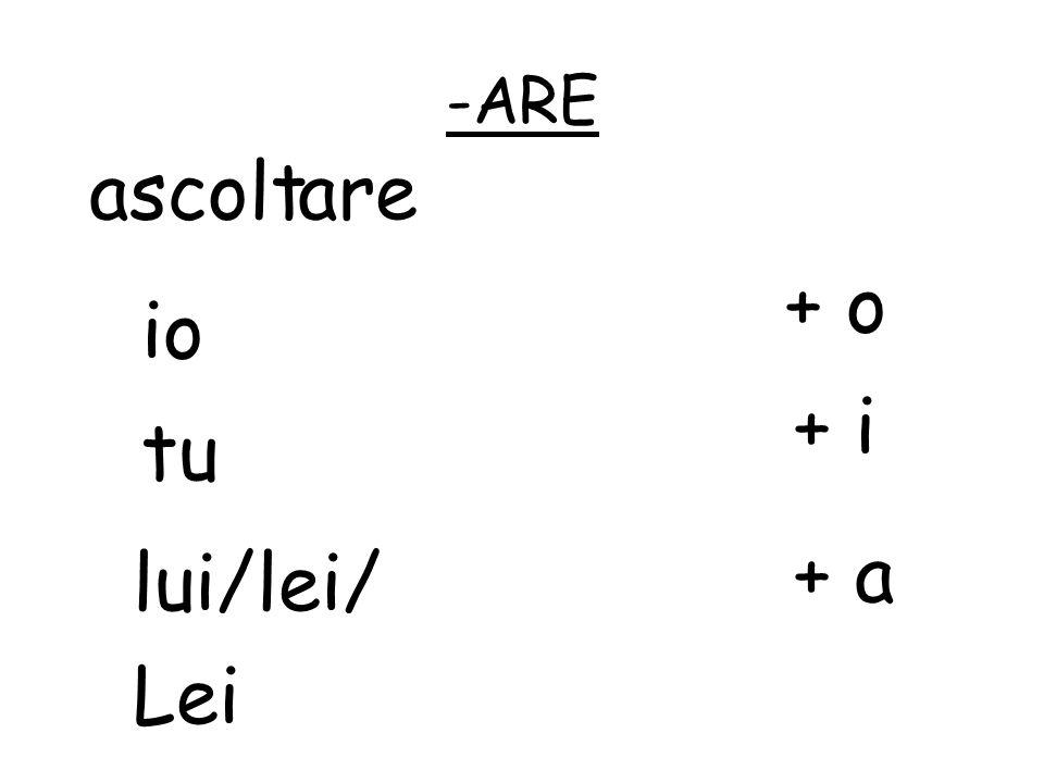 -ARE ascolt are + o io + i tu + a lui/lei/ Lei
