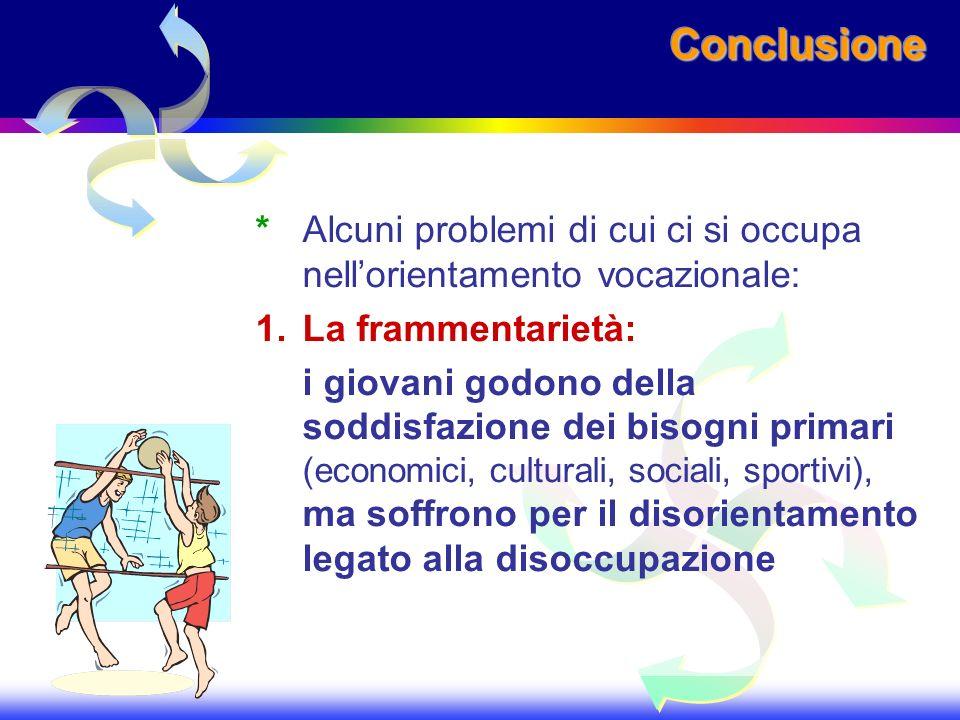 Conclusione * Alcuni problemi di cui ci si occupa nell'orientamento vocazionale: 1. La frammentarietà: