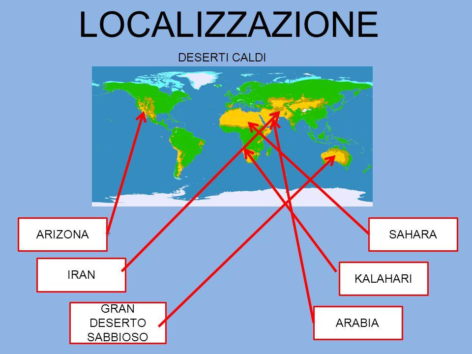 LOCALIZZAZIONE DESERTI CALDI ARIZONA SAHARA IRAN KALAHARI
