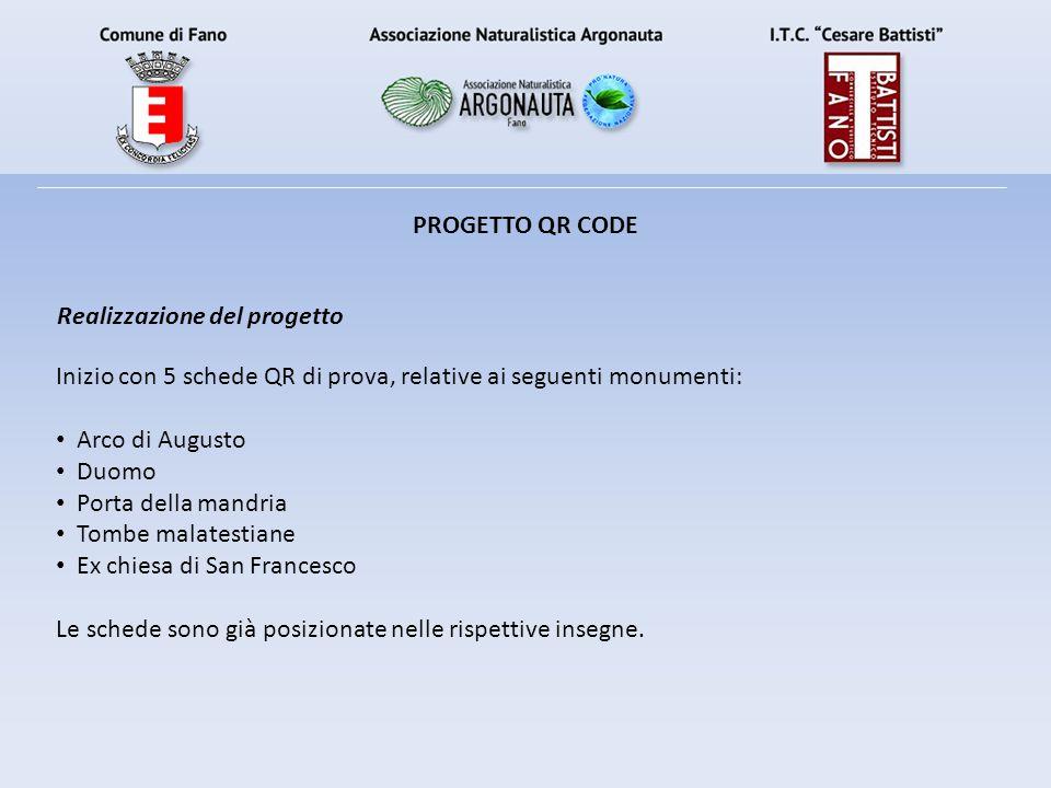 PROGETTO QR CODE Realizzazione del progetto. Inizio con 5 schede QR di prova, relative ai seguenti monumenti: