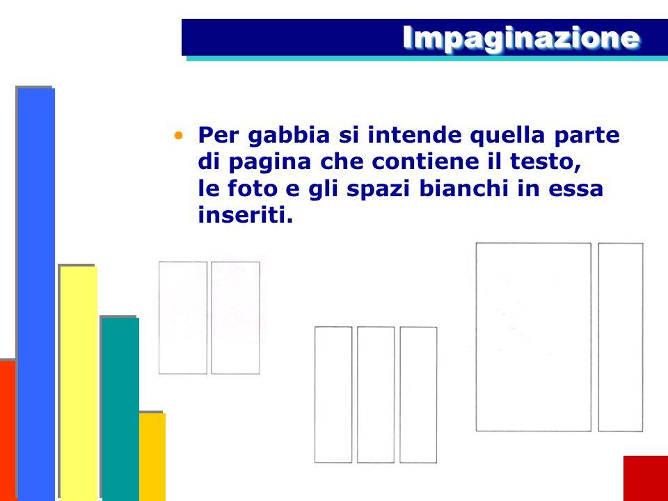 Impaginazione Per gabbia si intende quella parte di pagina che contiene il testo, le foto e gli spazi bianchi in essa inseriti.