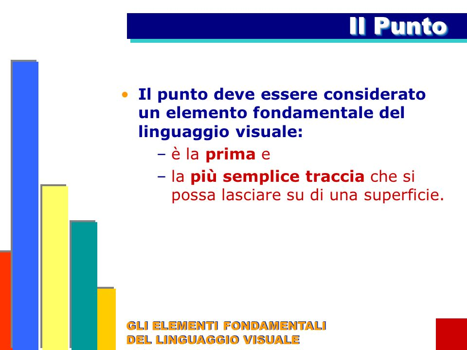 Il PuntoIl punto deve essere considerato un elemento fondamentale del linguaggio visuale: è la prima e.