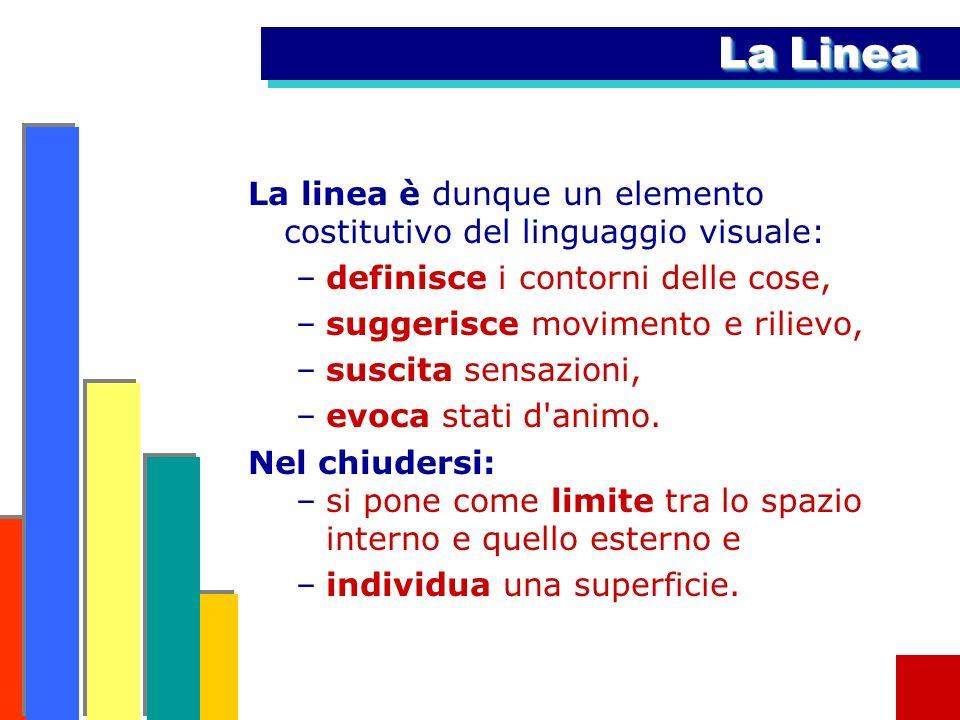 La LineaLa linea è dunque un elemento costitutivo del linguaggio visuale: definisce i contorni delle cose,