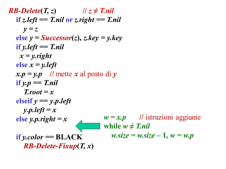 RB-Delete(T, z) // z ≠ T.nil