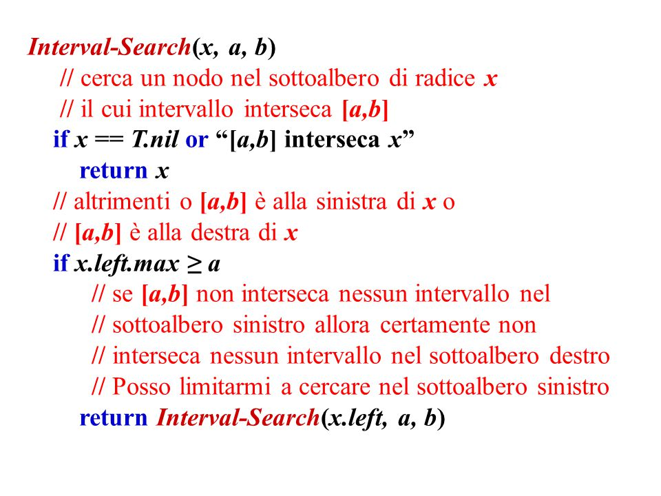 Interval-Search(x, a, b)