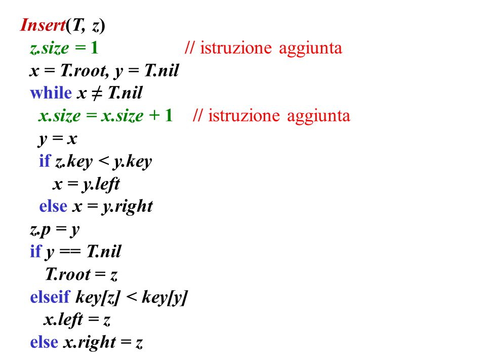 Insert(T, z) z.size = 1 // istruzione aggiunta. x = T.root, y = T.nil. while x ≠ T.nil.