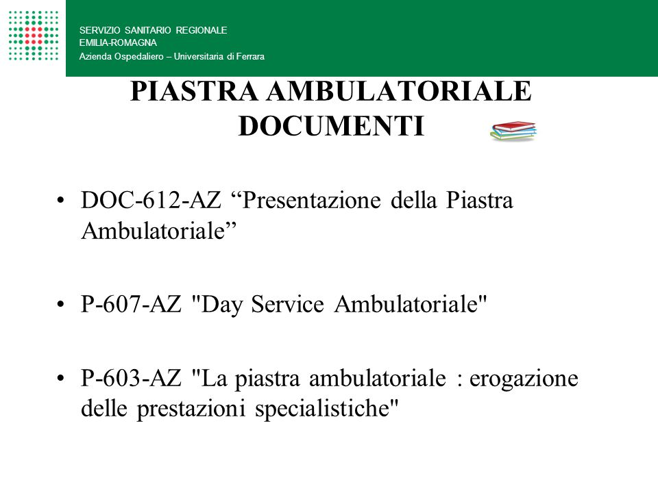 PIASTRA AMBULATORIALE DOCUMENTI